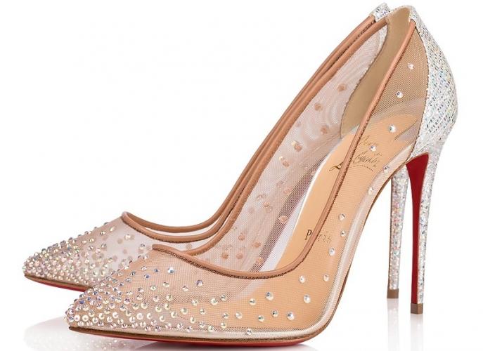scarpe louboutin strass rosa
